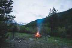 灼烧的阵营火到遥远的落叶松属里和有高处风景和剧烈的天空的杉树森林地在黄昏 夏天冒险 库存照片