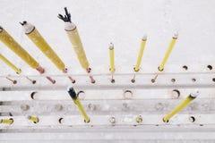 灼烧的香火棍子在香港 免版税库存图片