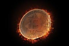 灼烧的bitcoin硬币 3d例证 库存图片