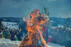 灼烧的Maslenitsa肖象 薄煎饼星期 Maslenitsa是一个东部斯拉夫的传统假日 库存照片