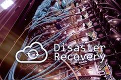 灾后重建 数据预防损失的措施 背景的服务器室 免版税图库摄影