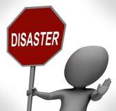 灾害红色停车牌显示危机麻烦或灾难 向量例证