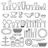 炊具和厨房辅助部件剪影  库存图片