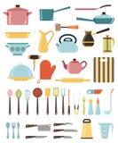 炊具的套厨房器物和汇集 免版税库存图片