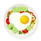 炒蛋和新鲜蔬菜 图库摄影