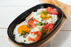 炒蛋用新鲜的蕃茄和新鲜的草本在平底锅油煎了 服务用面包多士 免版税图库摄影