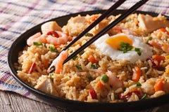 炒饭与鸡和虾特写镜头horizont的nasi goreng 库存照片