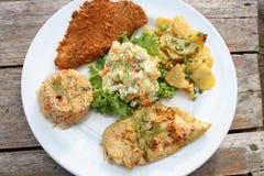 炒饭和沙拉和油煎的鱼和油煎的别致 免版税库存图片