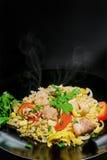 炒饭猪肉葱蕃茄泰国样式 免版税库存照片