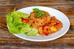 炒饭用海鲜,辣食物泰国样式 图库摄影