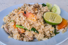 炒饭用猪肉,泰国食物 免版税库存图片