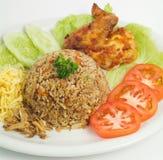 炒饭 一部分的一系列的九个亚洲食物盘 免版税库存图片