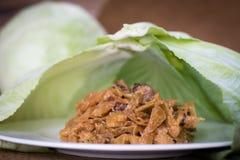 炖煮的食物圆白菜用香肠 库存照片