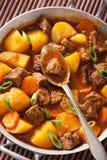 炖牛肉用土豆和红萝卜 免版税库存照片