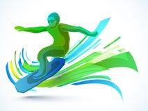 炫耀与冲浪者的概念 库存照片