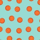 炫耀与篮球象的无缝的样式 免版税库存照片