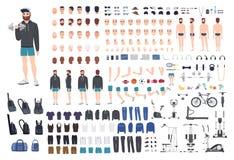 炫耀人字符建设者 爱好健美者人创作集合 不同的姿势,发型,面孔,腿,手 库存例证