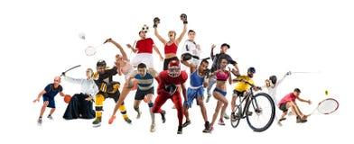 炫耀关于kickboxing,足球,橄榄球,篮球,冰球,羽毛球,跆拳道,网球,橄榄球的拼贴画 免版税图库摄影