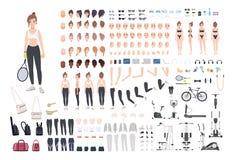 炫耀女孩字符建设者 健身妇女创作集合 不同的姿势,发型,面孔,腿,手 向量例证