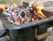 炭烬火 库存照片