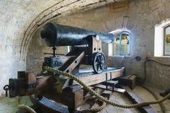 炮台设施odnomodovogo独角兽样品1838高在城堡机器和样品的转动的框架, 1833,在t 免版税库存照片