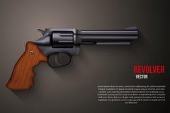 黑炮铜左轮手枪背景  库存例证