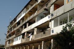 炮击大厦废墟在纳戈尔诺卡拉巴赫 库存照片