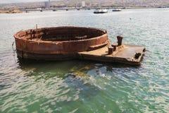 炮USS亚利桑那的炮塔三 免版税库存图片
