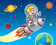 炸开通过空间的火箭队孩子 库存照片