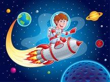 炸开从地球的火箭队男孩到外层空间 免版税库存照片