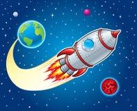 炸开从地球的火箭队船 库存图片
