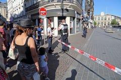 炸弹威胁在里尔,法国 免版税库存照片