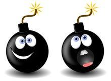 炸弹面部动画片的表达式 免版税库存图片