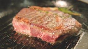 炸猪排烤烤了平底锅肉烹调 股票录像