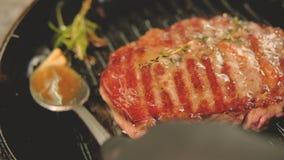 炸猪排烤烤了平底锅肉烹调 影视素材