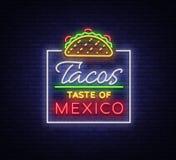 炸玉米饼商标传染媒介 在墨西哥食物,炸玉米饼,街道食物,快餐,快餐的霓虹灯广告 明亮的霓虹广告牌,发光 皇族释放例证