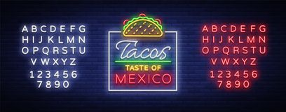 炸玉米饼商标传染媒介 在墨西哥食物,炸玉米饼,街道食物,快餐,快餐的霓虹灯广告 明亮的霓虹广告牌,发光 库存例证