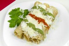 炸玉米饼Dorados墨西哥盘 免版税库存图片