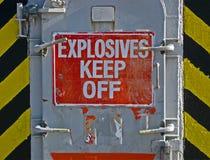 炸药keef,在牌的警告消息, 库存图片
