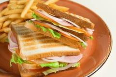 炸薯条和两个三明治与乳酪、香肠和莴苣叶子在难看的东西板材 图库摄影