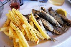 炸薯条和油煎的鱼 免版税库存照片