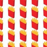 炸薯条无缝的样式背景 快餐无缝的传染媒介样式 库存照片