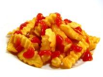 炸薯条番茄酱 免版税库存照片