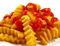 炸薯条番茄酱 免版税库存图片