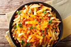 炸薯条的部分用熔化切达干酪、烟肉和pa 库存图片