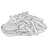 炸薯条速写,手拉的快餐传染媒介例证 炸薯条在包裹和散装 皇族释放例证