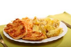 炸鸡烤potatos和红萝卜沙拉 免版税图库摄影