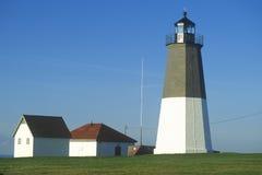 点在Narragansett,罗德岛州的朱迪思灯塔 免版税库存图片
