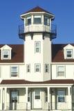 点在Narragansett,罗德岛州的朱迪思灯塔 免版税图库摄影
