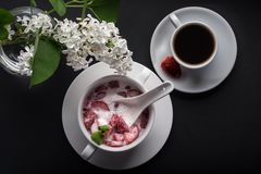 点心、草莓与奶油和薄菏切片,白色板材,咖啡,黑背景,顶视图 库存图片